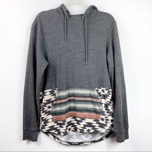 On The Byas | Grey Tribal Pocket Pullover Hoodie